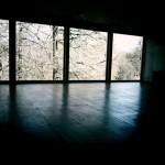 La salle de méditation, sa lumière et ses mélèzes